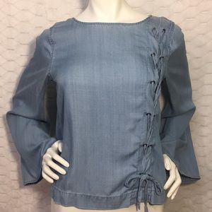 Vince Camuto Women's Chambray Lace-Up Top Size S